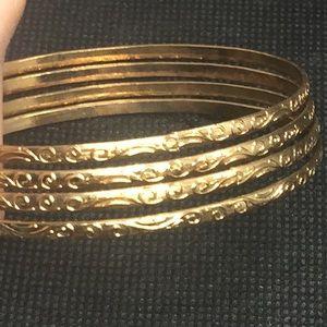 4 Etched Floral Thin Gold Tone Bangle Bracelets